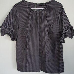 Eloqui Pinstripe Short Sleeve Blouse